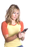 Woman texting looking at phone Stock Photos
