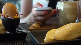 Woman Texting on Mobile Phone at Breakfast. Shot with a Sony a6300 fps29,97 4k stock video footage