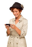 Woman Texting on Smart Phone on White Royalty Free Stock Photo