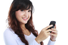 Woman texting or sms Stock Images