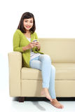 Woman texting or sms Royalty Free Stock Images