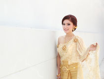 Woman with Thai dress Royalty Free Stock Images