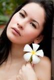 Woman with Thai flower, Frangipani, Plumeria, Royalty Free Stock Photos