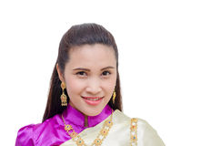 Woman in Thai traditional dress over white Stock Image