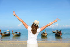 Woman on Thailand travel enjoying freedom Royalty Free Stock Photo
