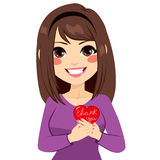 Woman Thank You. Woman holding red heart with thank you text royalty free illustration