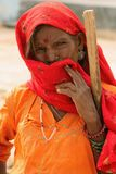Woman in the Thar desert in India Royalty Free Stock Photos