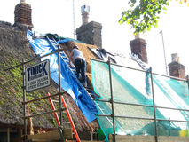 Woman thatcher repairing roof. A woman thatcher replacing the straw on a thatched roof. Standing on a ladder and surrounded by scaffolding royalty free stock photos
