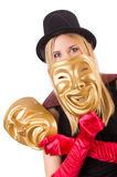 Woman with theater masks isolated on white Stock Image