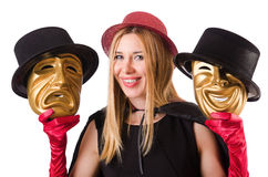 Woman with theater masks isolated on white Royalty Free Stock Photo