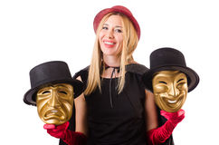 Woman with theater masks isolated on white Royalty Free Stock Photos