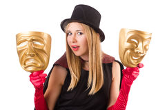 Woman with theater masks isolated on white Stock Photo
