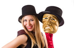 Woman with theater masks isolated on white Royalty Free Stock Images