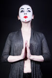 Woman in  theatrical mime make-up Stock Image