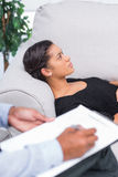 Woman at therapy session Royalty Free Stock Image