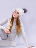 Woman in thermal underwear Stock Images
