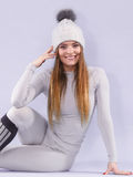 Woman in thermal underwear Stock Photo