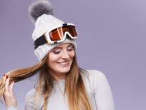 Woman in thermal underwear ski googles Royalty Free Stock Photo