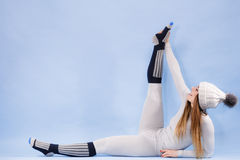 Woman in thermal underwear top ang leggings stock image