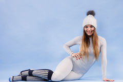 Woman in thermal underwear top ang leggings Stock Photography