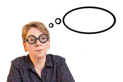 Woman thick glasses thought bubble Stock Photography