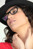 Woman in thick rimmed glasses Royalty Free Stock Photos