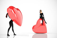 Woman thief with big heart on white background. Woman thief sits over a big heart on white background Stock Illustration