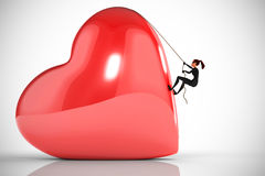 Woman thief climbs a big heart. On a white background Vector Illustration