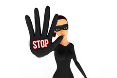 Woman thief with hand in block position. With white background Vector Illustration