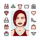 Woman things icons Royalty Free Stock Image