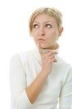 Woman think. On white background stock photos