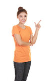 Woman think of idea with t-shirt Stock Photos