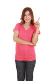 Woman think of idea with t-shirt. Woman think of idea with pink t-shirt isolated on white background Royalty Free Stock Photo