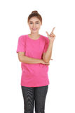Woman think of idea with t-shirt Stock Photo