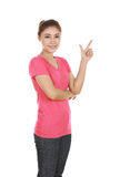 Woman think of idea with t-shirt. Woman think of idea with pink t-shirt isolated on white background Stock Photography