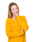 Woman think of something Royalty Free Stock Photography