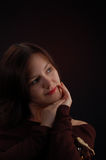 A woman thinking. Portrait of beauty woman royalty free stock photography