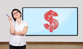 Woman thinking. And big plasma on wall with dollar symbol Stock Images