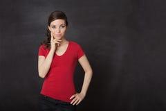 Woman thinking blackboard Royalty Free Stock Image