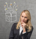 Woman thinking. Businesswoman thinking and box drawing on wall Royalty Free Stock Photos