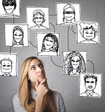 Woman thinking about different people stock illustration