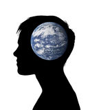 Woman thinking about the earth. Profile of a young woman with the planet Earth inside her head Vector Illustration