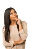 Woman thinking expression Stock Photos