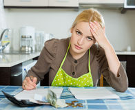 Woman thinking about the financial problems Stock Photos