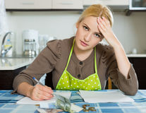Woman thinking about the financial problems Stock Image