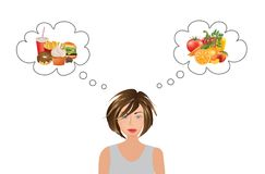 Woman thinking about food choice vector illustration