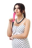 Woman thinking holding conceptual pen Royalty Free Stock Image