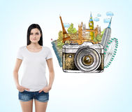 Woman thinking about holidays, sights Stock Photos