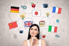 Woman thinking about international education stock image