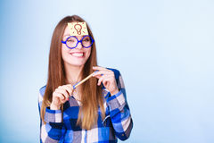 Woman thinking light idea bulb on head, creative girl lots of ideas Royalty Free Stock Photo